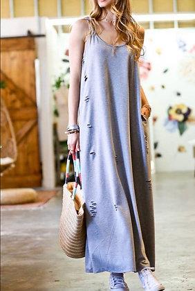 Distressed Cotton Maxi Dress