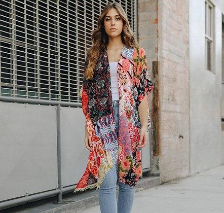 Boho Floral Patchwork Kimono