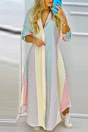 Multi-Color Maxi Shirt Dress