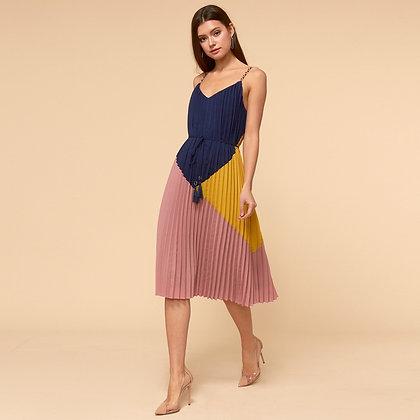 Sisley Woven Pleated Tie-Waist Dress