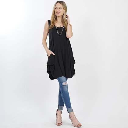 Crewneck Convertible Sleeveless Mock-Neck Tunic