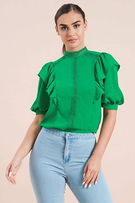 Kelly Green Lace Trim Top