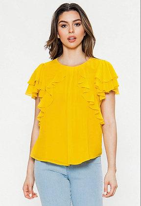Canary Yellow Ruffle Top