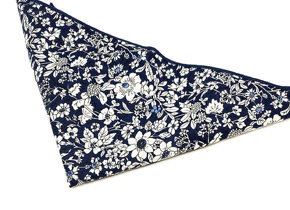 Floral Cotton Pocket Square-Blue/White