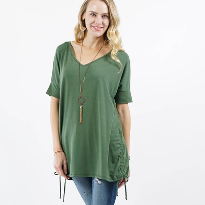 Side Ruched Drawstring Tunic