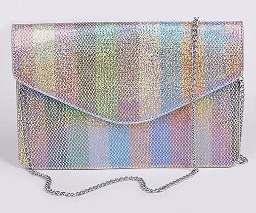 Rainbow Clutch w/Shoulder Chain Strap
