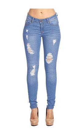 Medium Rinse Skinny Jeans w/Distress
