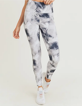 White Feather Print High-waist Leggings