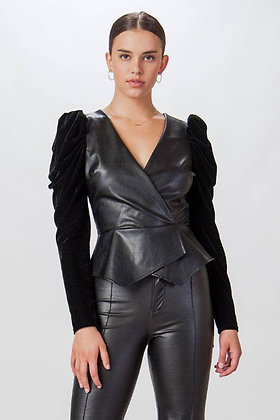 Faux-leather Top w/Velvet Puff Sleeves
