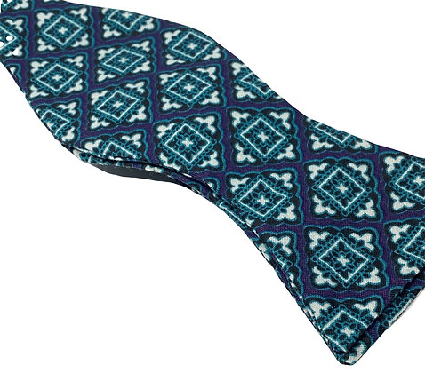 Custom Made Blue & Green Cotton Medallion Bowtie