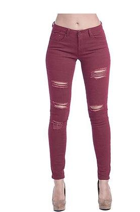 Wine Skinny Jeans w/Distress