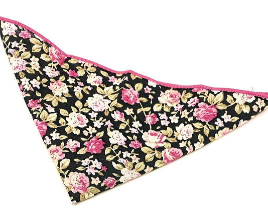 Floral Cotton Pocket Square-Black/Fuchsia