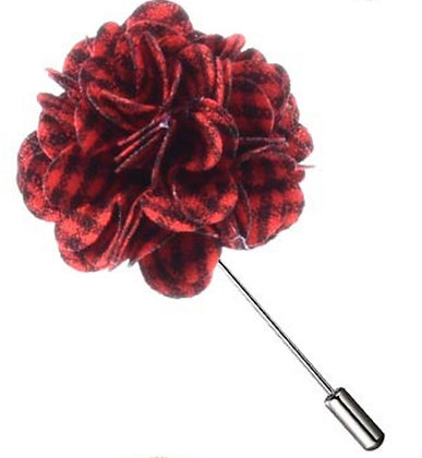 Gingham and Plaid Flower Lapel Pins-Assorted Colors