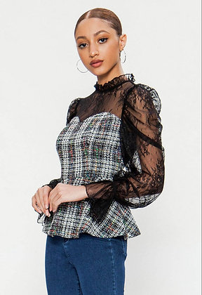 Lace And Boucle Peplum Top