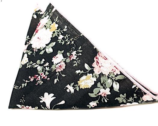 Floral Cotton Pocket Square-Black/Pink