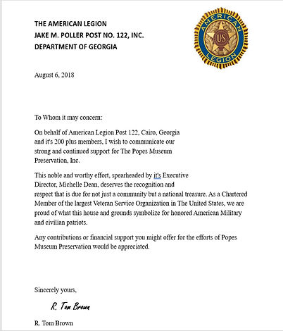 AL POST 122 Letter of support for Popes