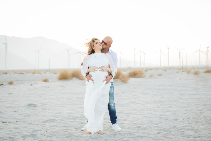 A dreamy sunset photo session for this family of three about to become four. Their sweet Pomeranian was the star of the show. Also Mama is breathtaking!