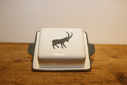 Butterdose 125g Steinbock grau