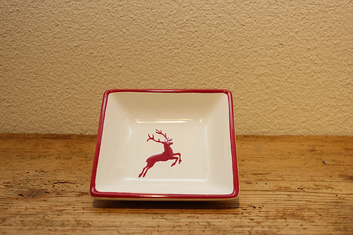Snackschale qudratisch Hirsch rot