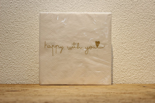 Serviette happy with you weiss/gold