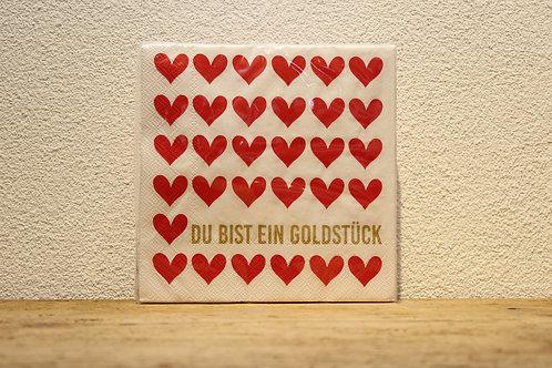 Serviette Goldstück weiss/rot