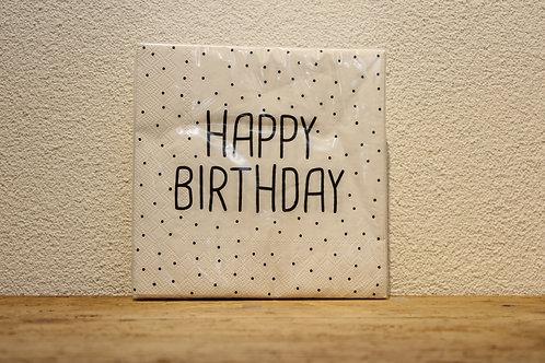Serviette Happy Birthday weiss