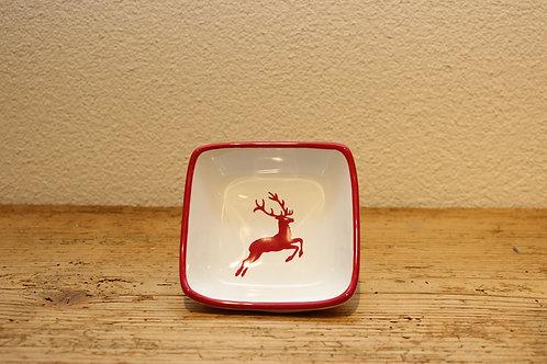 Schälchen quadratisch Hirsch rot