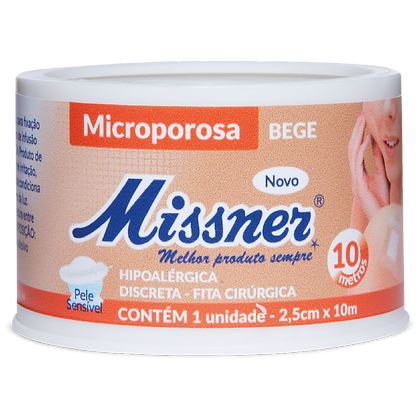 10m Fita Microporosa Bege Missner 2,5cm x 10m