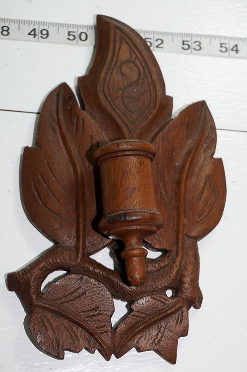 Wooden Match Holder Safe - Tree  Leaves