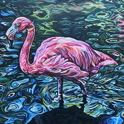 "Flamingo's Wonderland, 24"" x 24"""