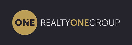 realty one white and gold on black backg