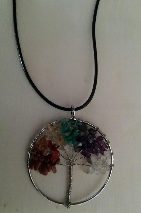 tree of life, chakras, balance, red jasper, carnelian, citrine, green adventurine, sodalite, amythest, clear quartz, gemstone
