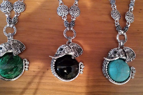 necklace gemstone elephant black tourmaline turquoise malachite sale jewelry