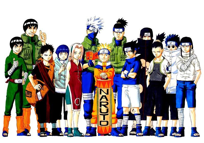 Naruto e todos os personagens do anime