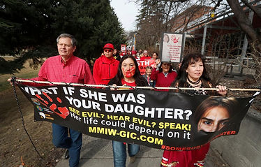 Senator Daines marches with Tina HasThe