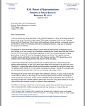 Letter to Wyoming Game and Fish Commission from Congressman Raul Grijalva, Ranking Member of the House Natural Resources Committee, opposing the Greater Yellowstone grizzly hunt.