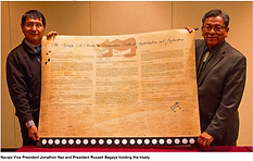President Begay+ VP Nez with the Treaty.