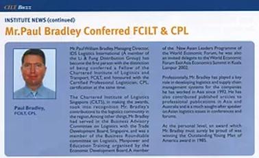 Mr. Paul Bradley Conferred FCILT & CPL Source: FCILT Magazine