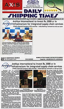 Arshiya International to invest Rs.3000 cr in infrastructure for integrated supply chain service  Source: Daily Shipping Times - 13 December 2007