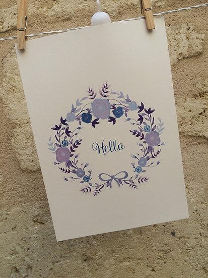 AFFICHE - couronne octavie mauve - hello