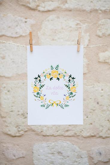 AFFICHE - couronne octavie jaune - dolce vita