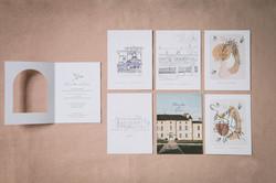 Collection mariage Mariette et Pierre - oiseaux et craie grasse - idées carte invitation à glisser à