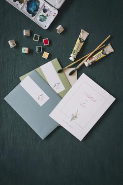 Astrid et Loïc faire-part, enveloppes et sticker