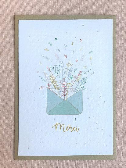 Carte Merci à planter - explosion de fleurs