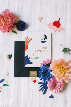 Papeterie mariage Paul et Paulette - zoom faire-part 13,5/18
