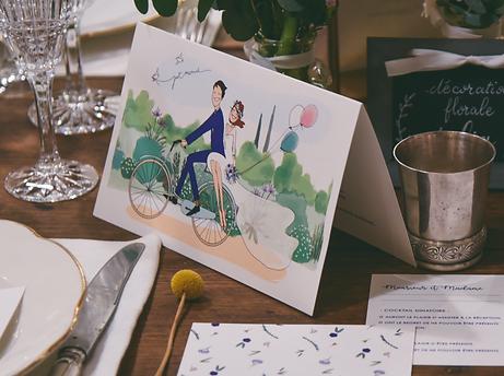collection Olivia et Marceau - mariés à vélo - illustration réalisée en partenariat avec l'artiste Alix AIME - menus, save the date, centre de table, couverture livret de messe, marque place, stickers, etiquette cadeau, carte RSVP, carte merci ...