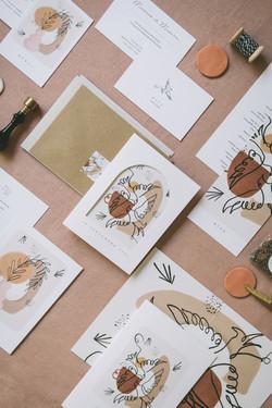 Collection mariage Mariette et Pierre - oiseaux et craie grasse - zoom