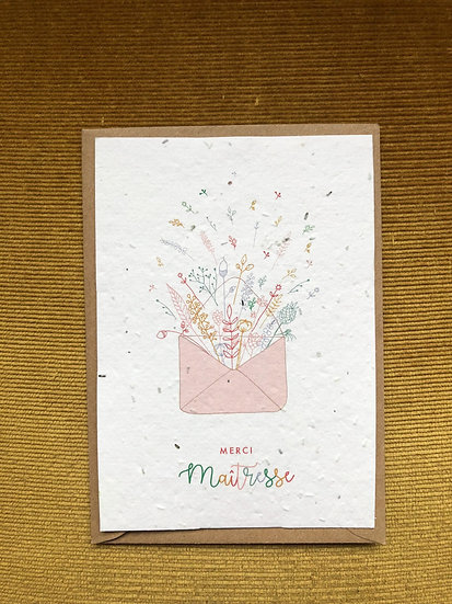 Carte Merci Maîtresse à planter - explosion de fleurs