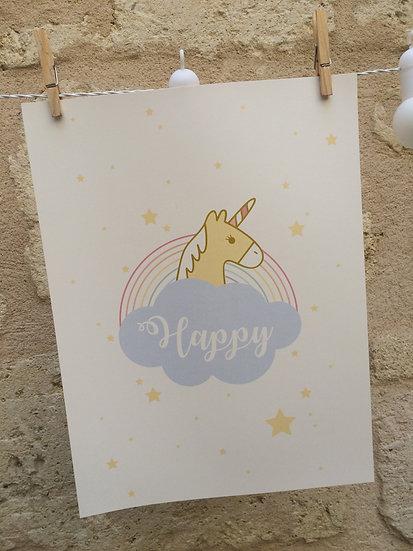 AFFICHE - Licorne - happy