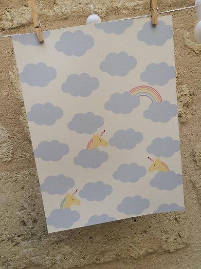 AFFICHE -cache cache de  licornes dans les nuages